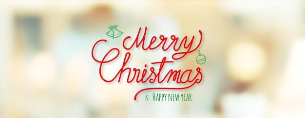 Feliz natal vermelho e feliz ano novo caligrafia em borrão bokeh natal