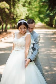 Feliz, noiva noivo, ligado, seu, casório