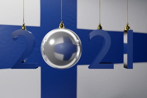 Feliz nova bola da bandeira nacional da finlândia