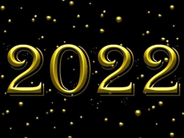 Feliz novo texto de ouro elegante de 2022 anos com saudação. modelo minimalista. fundo preto do ano novo. projeto de texto do logotipo de ano novo 2022. ilustração.