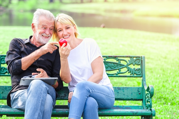 Feliz, par velho, parque, segurando, coração, em, amor, valentine, dia, conceito
