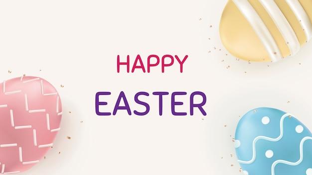 Feliz páscoa com ovos coloridos, celebração do festival de saudação com banner social