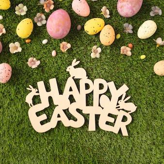 Feliz páscoa sinal de madeira com ovos e flores