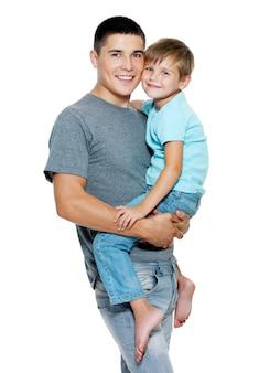 Feliz retrato de pai e filho