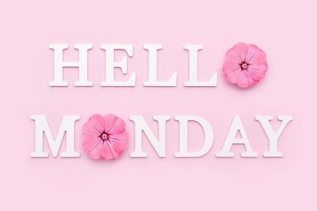 Feliz segunda-feira palavras no quadro de correspondência preto e buquê de flores silvestres brilhantes em um vaso de lata na mesa contra a parede de madeira azul. conceito olá segunda-feira.