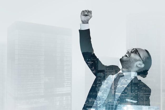Feliz, sucedido, homem negócios