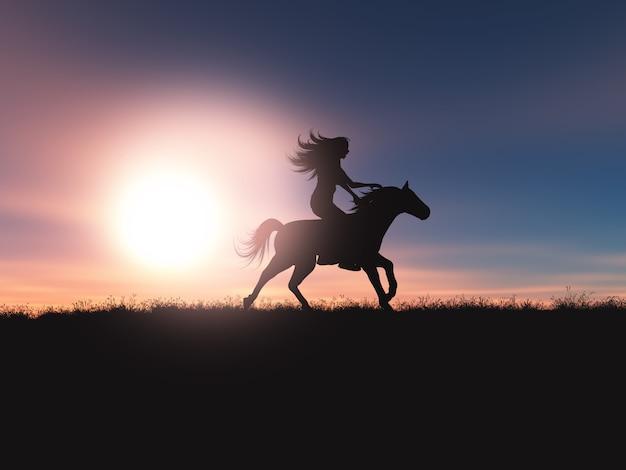 Fêmea 3d que monta seu cavalo em uma paisagem do por do sol
