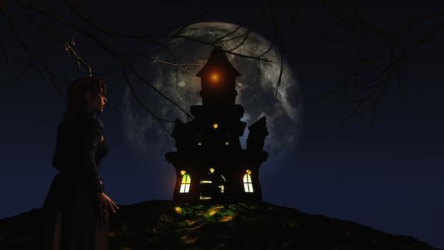 Fêmea 3d que olha um castelo assustador contra um céu enluarado