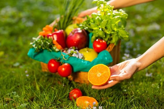 Femininas mãos segurando cesta de vime com legumes e frutas, close-up