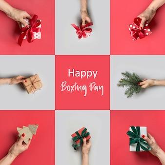 Femininas mãos segurando diferentes presentes em cinza e vermelho. cartão de natal. dia de boxe.