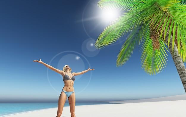 Feminino 3d em uma praia tropical com palmeira
