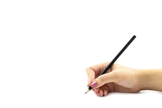 Feminino mão holdding lápis de cor preta, isolados no fundo branco