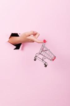 Feminino mão segura através de um buraco um carrinho de compras de supermercado mini vazio em um fundo rosa, conceito de vendas com espaço de cópia, minimalismo