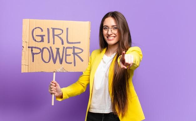 Feminista bonita empresária. conceito de poder feminino