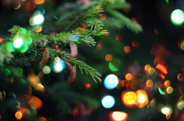 Feriado de natal. árvore de natal contra bokeh bonito de luzes cintilantes.