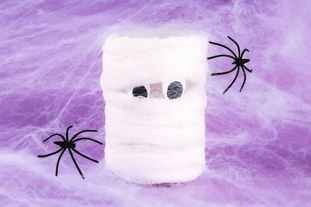 Feriado do dia das bruxas teia de aranha branca com duas teias de aranha pretas roxas. múmia diy