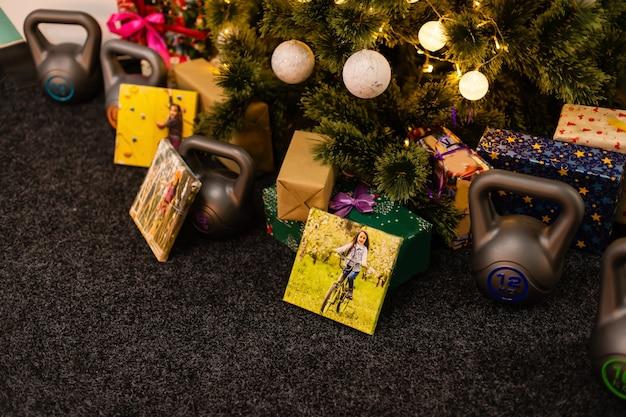 Feriado em tela de foto de presente de natal