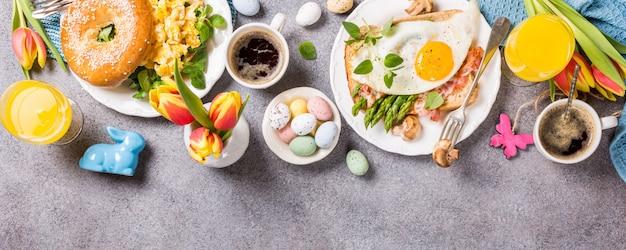 Férias de páscoa pequeno-almoço plano leigos