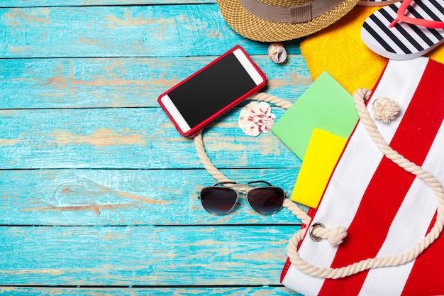 Férias de verão com artigos de praia
