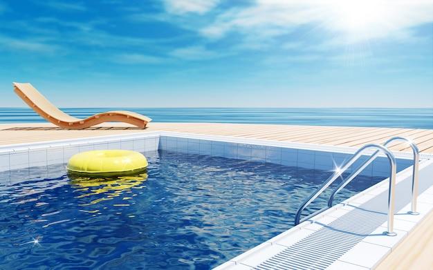 Férias de verão com piscina e vista para o mar, renderização em 3d
