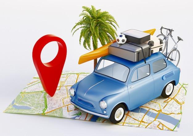 Férias de verão. conceito de viagens de carro. ilustração de renderização 3d