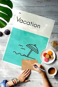 Férias de verão, viagem de férias, direções wanderlust