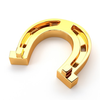Ferradura do ouro isolada no fundo branco. símbolo de felicidade e sucesso.