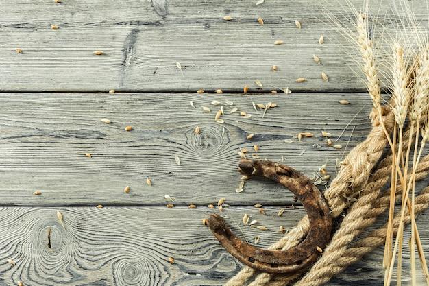 Ferradura velha e corda na placa de madeira