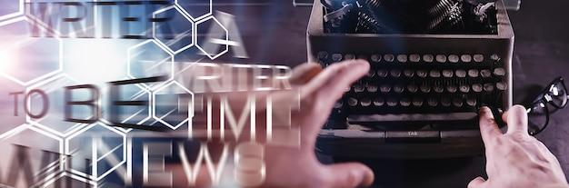 Ferramenta de jornalista vintage. máquina de escrever retro. o escritor está trabalhando. selo do romance. conceito de escritor jornalista.