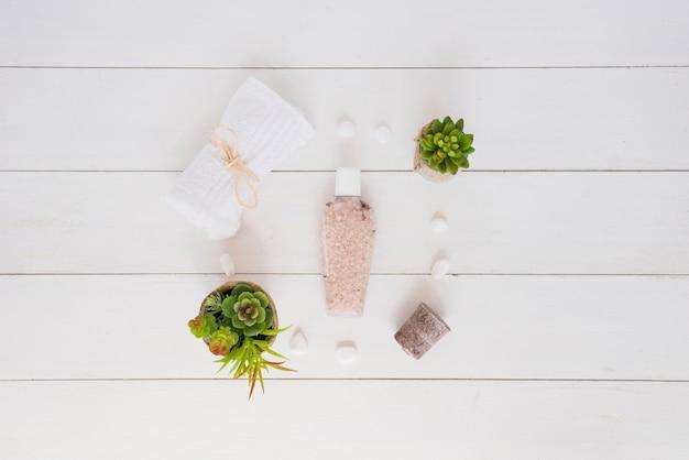 Ferramentas de cuidados da pele e vasos de flores na mesa de madeira