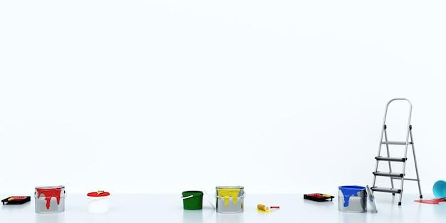 Ferramentas de desenho e tinta em baldes no fundo da parede branca, renderização em 3d