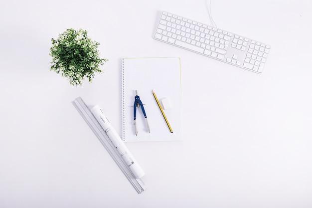 Ferramentas de desenho perto de planta e teclado