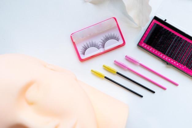 Ferramentas de extensão de cílios, pente de chicote de escova, micro eyelash wan, cabeça de manequim de silicone