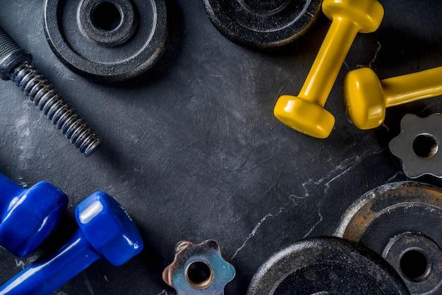 Ferramentas de fitness e halteres