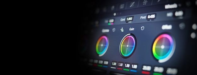 Ferramentas de graduação de cor ou indicador de correção de cor rgb no monitor no teleci do processo de pós-produção