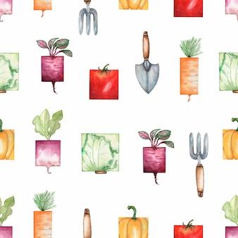 Ferramentas de jardim em aquarela e legumes orgânicos sem costura padrão