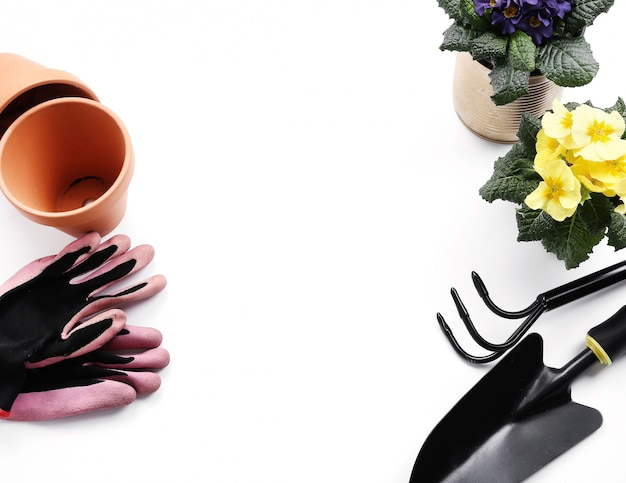 Ferramentas de jardinagem e vaso de flores, isolado no fundo branco