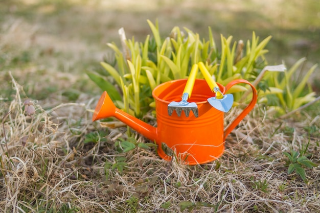 Ferramentas de jardinagem, equipamentos. fontes do jardim. temporada de primavera. brinquedos de ancinho e colher isolados. ferramentas de jardim de crianças coloridas. regador de laranja e um pequeno ancinho