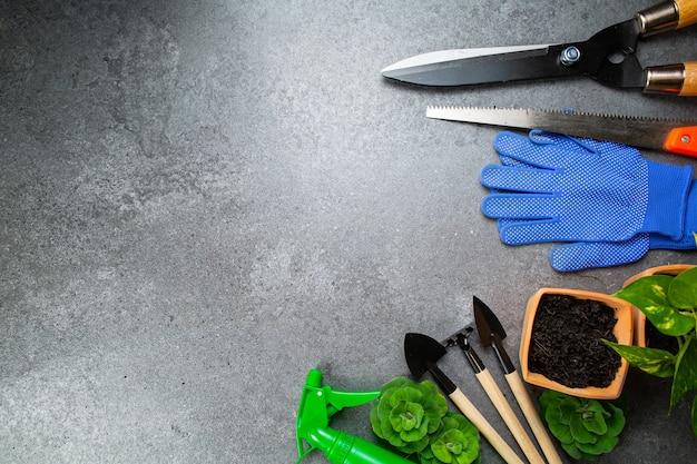 Ferramentas de jardinagem instrumento múltiplo para seu jardim e flores com banner para seu projeto. espaço de vista superior para ferramentas de agricultura hooby para ficar em casa.