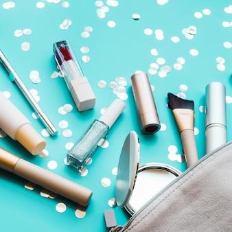 Ferramentas de maquiagem em um caso