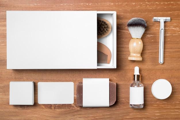 Ferramentas de preparação de barbearia com caixas brancas