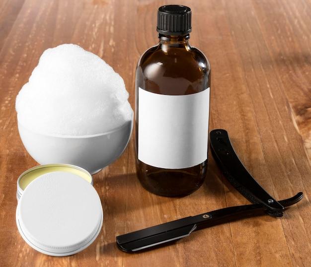 Ferramentas de preparação de barbearia de alta vista