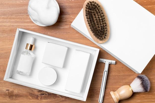 Ferramentas de preparação de barbearia de vista superior