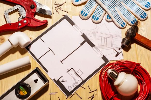 Ferramentas de trabalho e design de casas