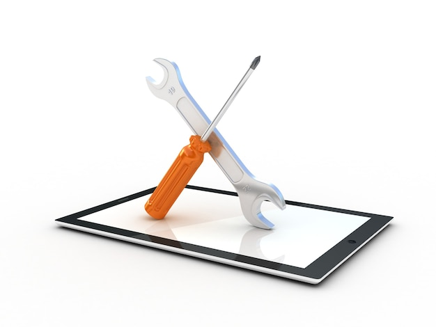 Ferramentas no tablet pc. ilustração 3d