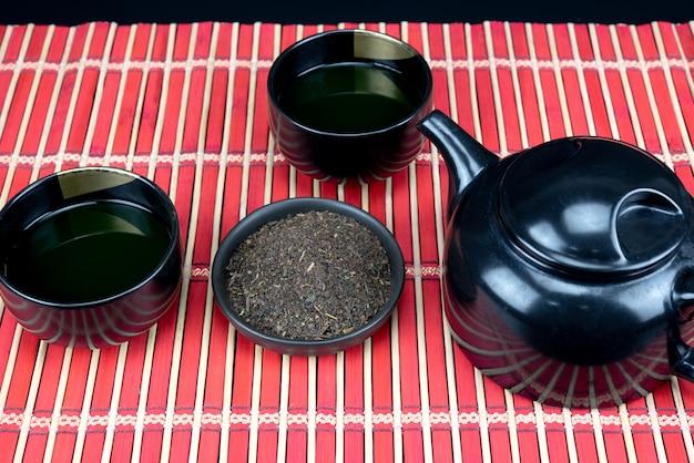 Ferramentas para cerimônia de chá verde matcha orgânico