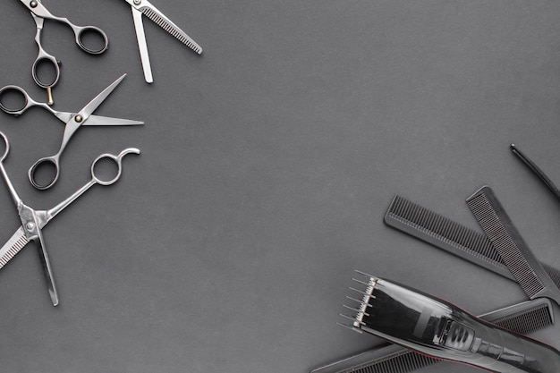 Ferramentas profissionais para cabelo com espaço para texto
