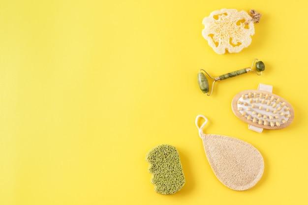 Ferramentas reutilizáveis de cuidados com a pele para a rotina de beleza de material ecológico em amarelo