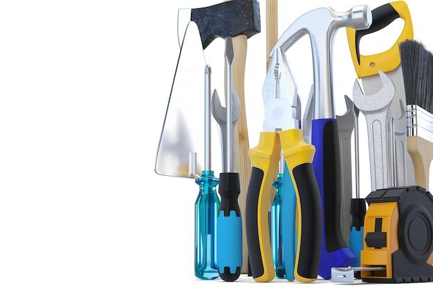 Ferramentas. skrewdriver, martelo, serrote e chave inglesa. ilustração 3d