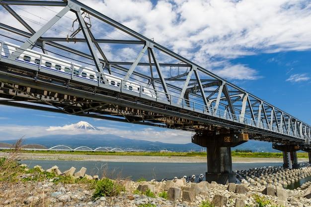 Ferrovia de shinkansen e monte fuji